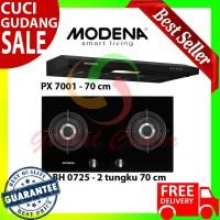 Paket Kompor Tanam Gas Modena 2 Tungku BH 0725 dan Cooker Hood PX 7001