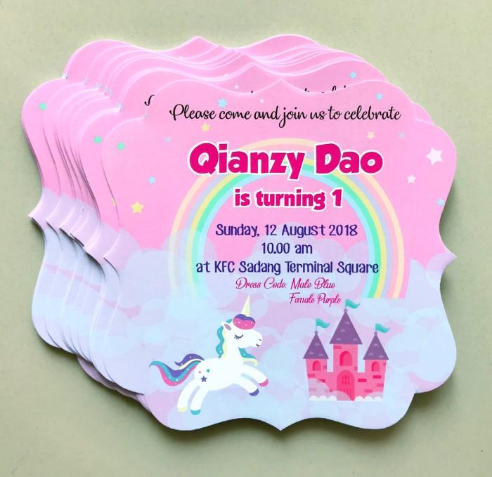 Jual Invitation Undangan Ultah Unicorn Castle Kota Surabaya