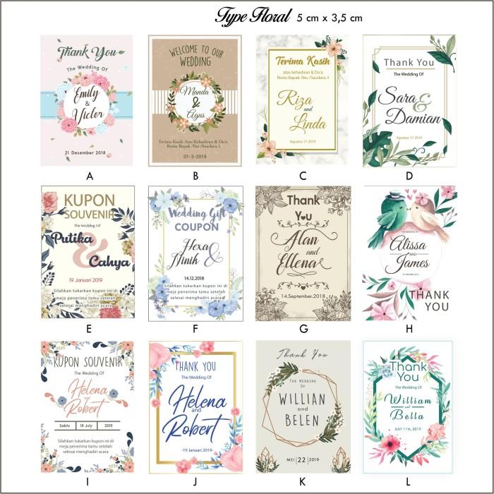 Jual Kartu Ucapan Terima Kasih Kupon Souvenir Pernikahan Thanks Card