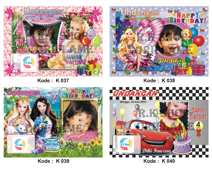 Jual Kartu Undangan Ulang Tahun Anak Kode 037 048 Kecil Dki