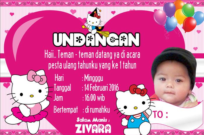 Jual Undangan Ultah Thank Card Tema Hello Kitty Kab Bogor