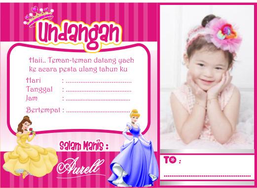 Jual Undangan Ultah Anak Tema Princess Bisa Pakai Foto Kab Bogor