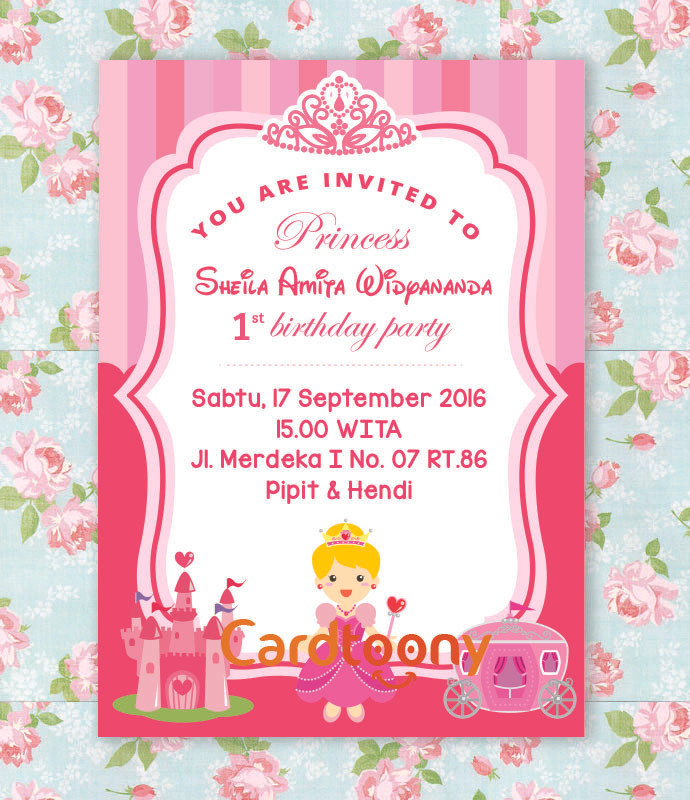 Jual Kartu Undangan Ulang Tahun Putri Princess Cinderella Pink