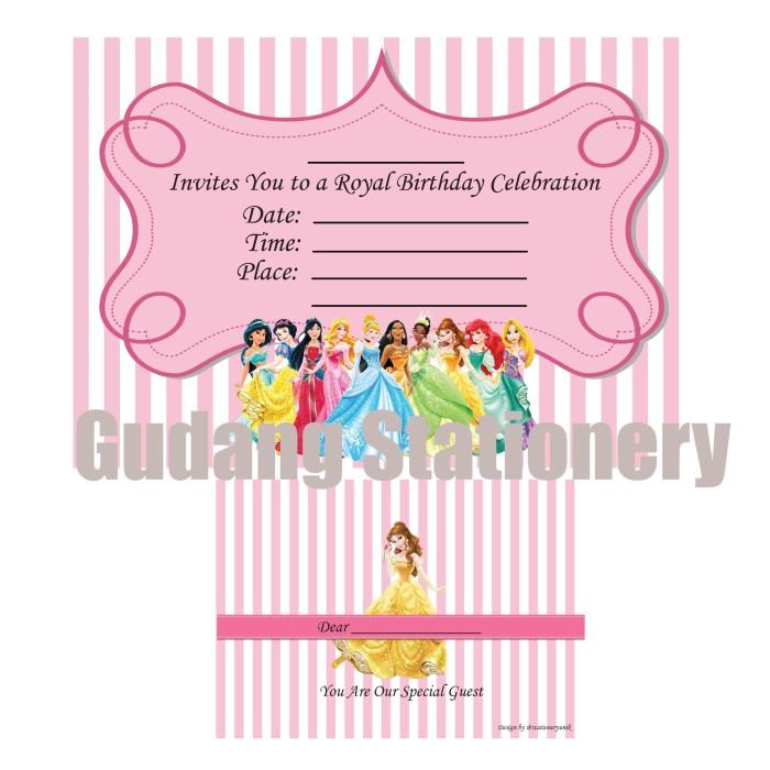 Jual Kartu Undangan Ulang Tahun Anak Princess Kota Administrasi