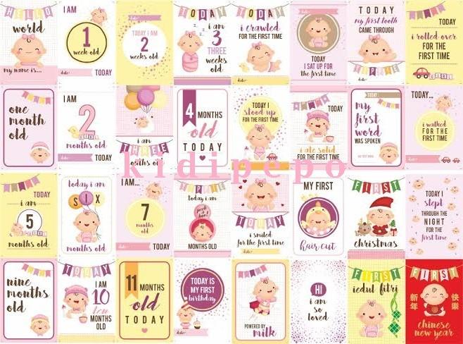 Jual Baby Milestone Card Kartu Selfie Bayi Baby Girl Series