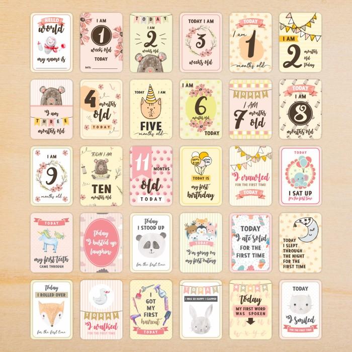 Jual Baby Girl Milestone Cards 30 Set Kartu Selfie Bayi Kota