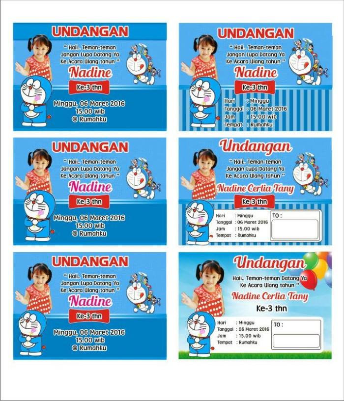 Jual Undangan Ultah Anak Tema Doraemon Tanpa Minimal Order Kab