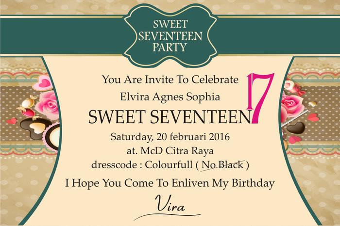 Jual Undangan Ultah Sweet Seventeen Kab Bogor Percetakan Dhuy