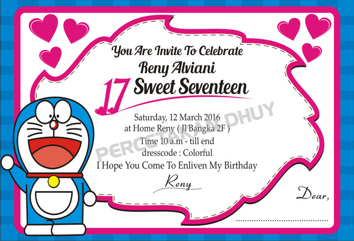 Jual Undangan Sweet Seventeen Tema Kartun Kab Bogor Percetakan