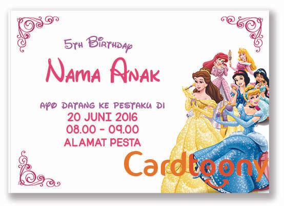 Jual Kartu Undangan Ulang Tahun Ultah Birthday Disney Princess