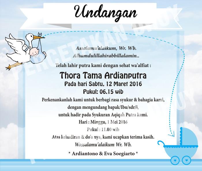 Jual Undangan Aqiqah Undangan New Born Baby Kab Bogor