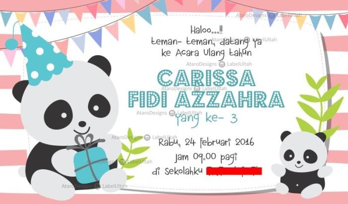 Jual Undangan Ulang Tahun Cute Panda Kota Yogyakarta Digital