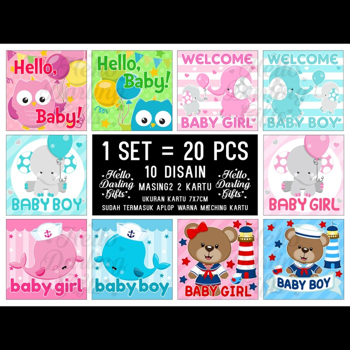 Jual Kartu Ucapan Kelahiran Bayi Isi 20 Pcs Untuk Kado Parcel