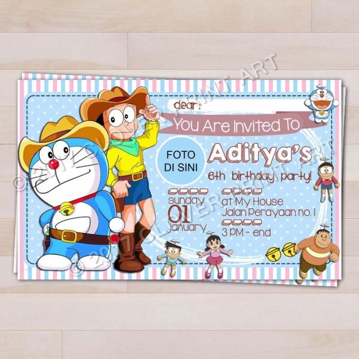 Jual Kartu Undangan Ulang Tahun Anak Doraemon Dengan Foto Kota