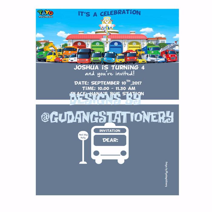 Jual Kartu Undangan Ulang Tahun Tayo The Little Bus Dki Jakarta