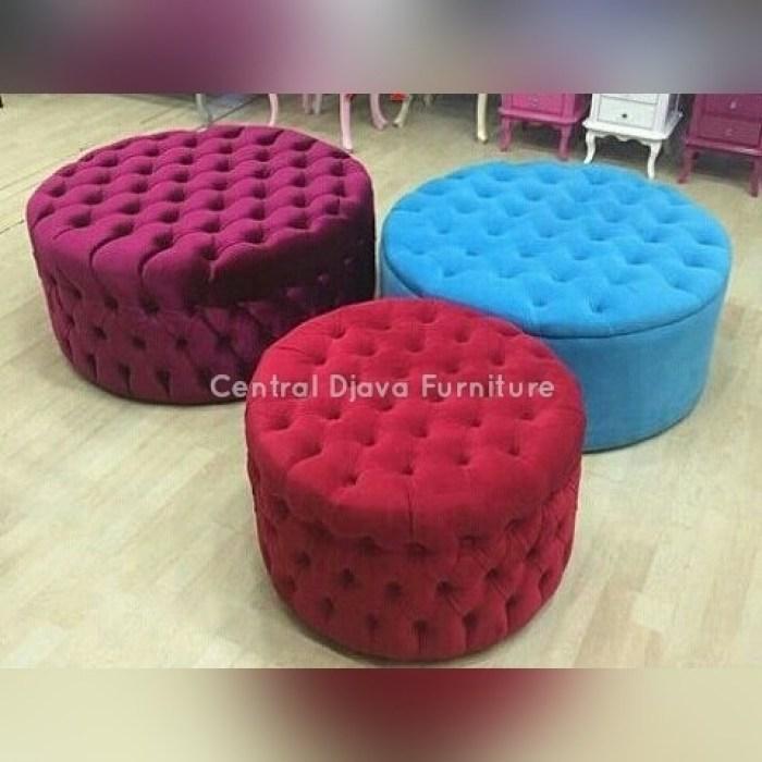 Kursi Sofa Puff Ottoman Bulat Full Cushion Furniture Kayu Mebel Jepara