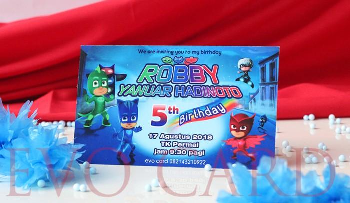 Jual Birthday Invitation Kids Pj Mask Boy Undangan Ulang Tahun Anak