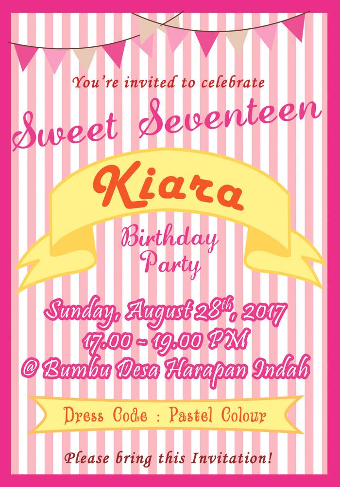 Kartu Undangan Ulang Tahun Invitation Card Sweet Seventeen Pink01