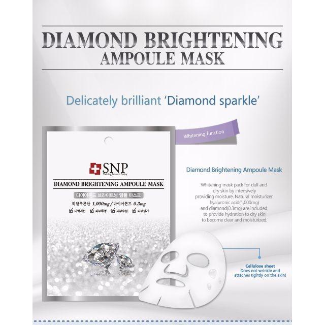 Snp Diamond Brightening Ampoule Mask  Pcs Masker Berlian Wajah Korea