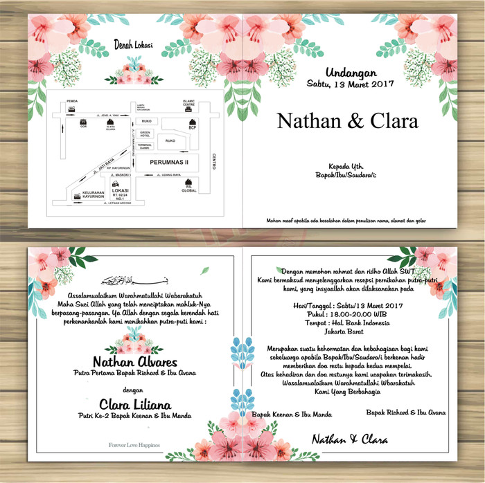 Jual Surat Undangan Pernikahan Shaby Elegan Full Colour Kab