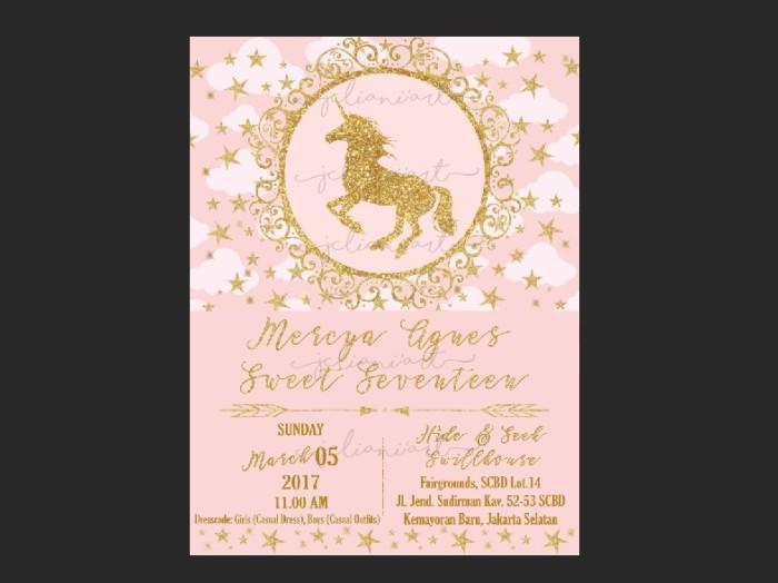 Jual Kartu Undangan Ulang Tahun Pink Gold Unicorn Custom Kota