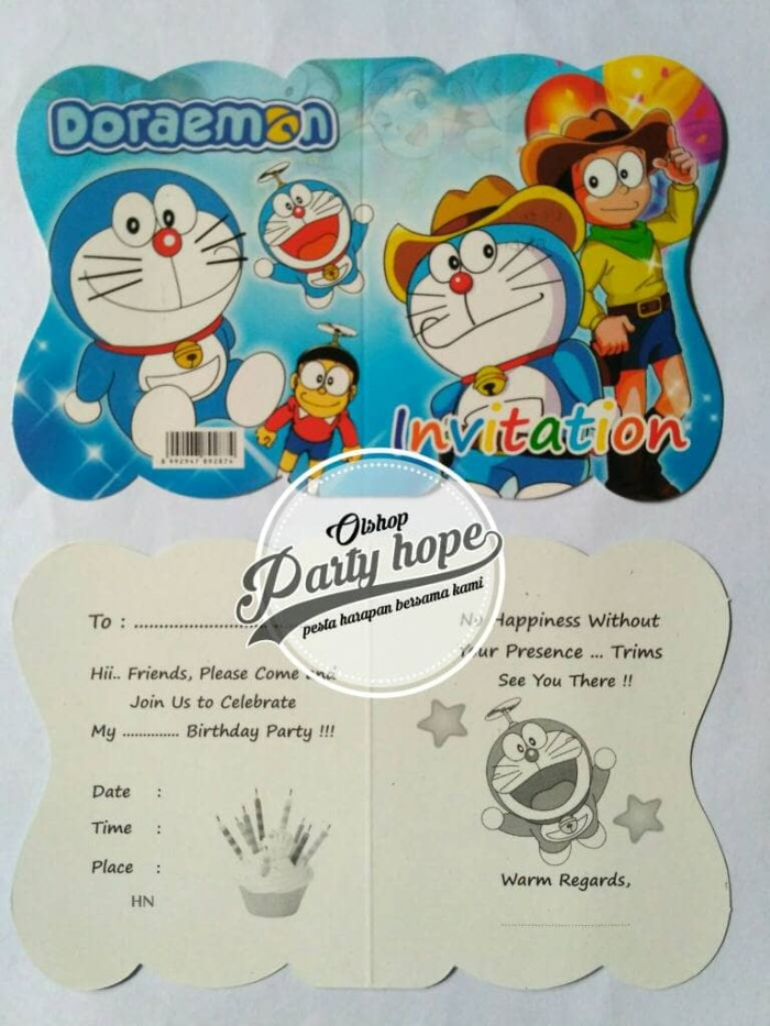 Jual Kartu Undangan Ulang Tahun Undangan Ultah Doraemon Undangan