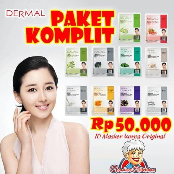 Paket Masker Wajah Korea Dermal Original Collagen Essence Mask