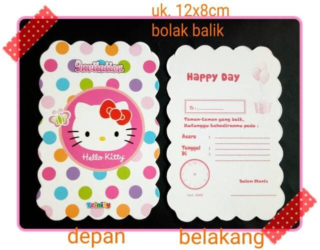 Jual Kartu Undangan Ulang Tahun Ultah Anak Karakter Hello Kitty