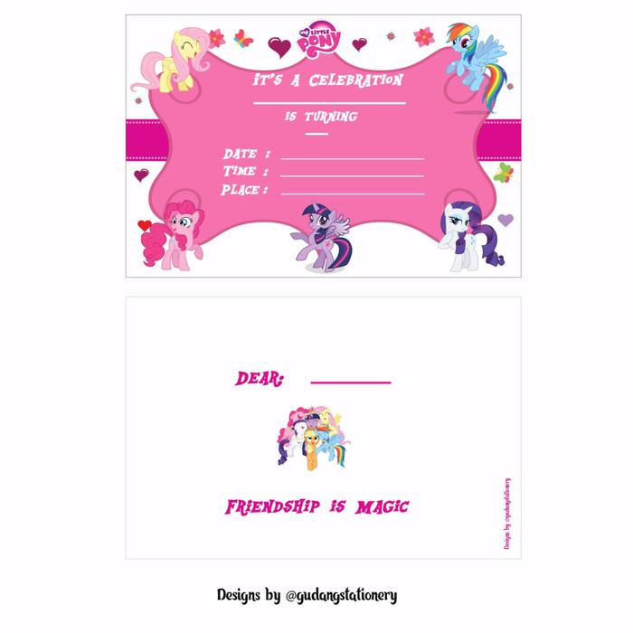 Jual Kartu Undangan Ulang Tahun Anak My Little Pony Dki Jakarta