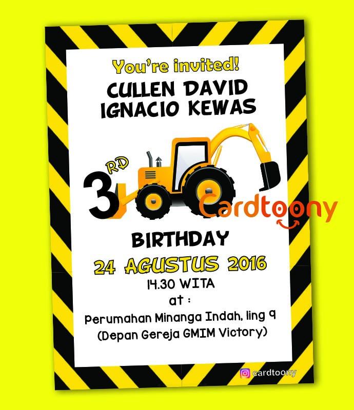 Jual Kartu Undangan Ulang Tahun Excavator Ekskavator Traktor