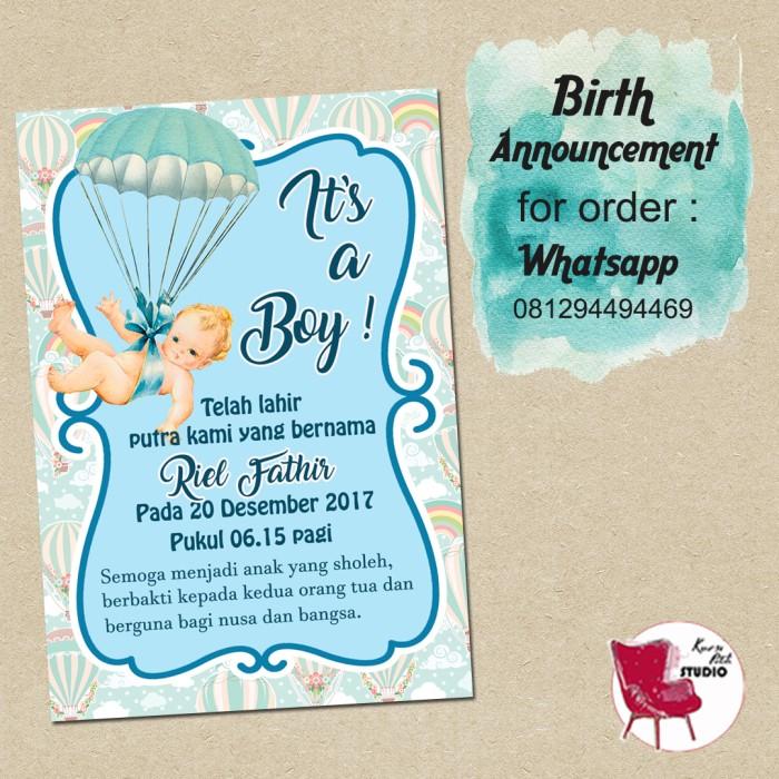 Jual Kartu Ucapan Kelahiran Bayi Aqiqah Birth Announcement Baby