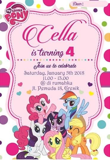 Jual Kartu Undangan Ulang Tahun My Little Pony Kota Surabaya