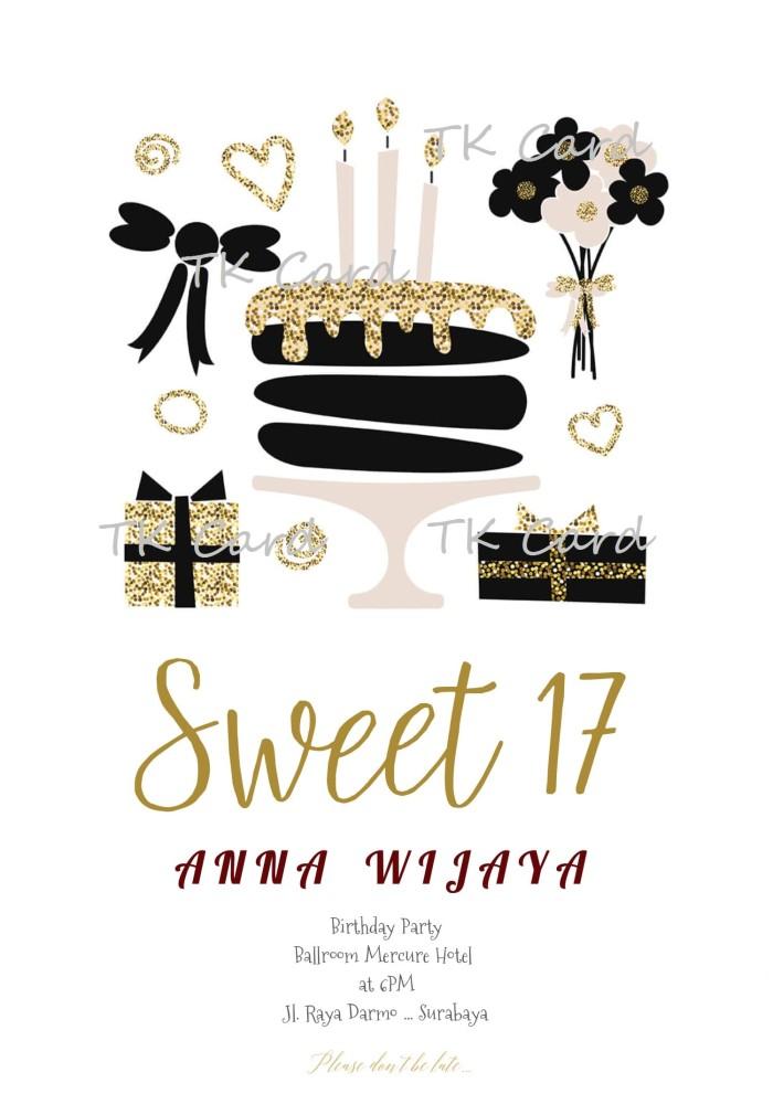 Jual Undangan Ulang Tahun Sweet Seventeen Kota Surabaya