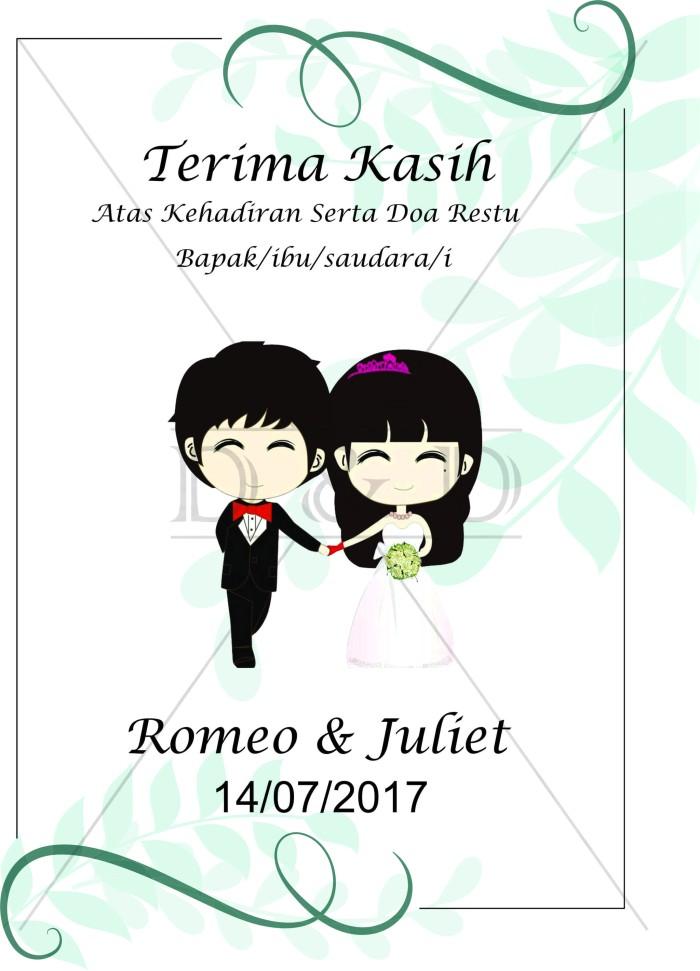 Jual Custom Kartu Ucapan Pernikahan Simple Leaves Uk 6x4 Cm Dki