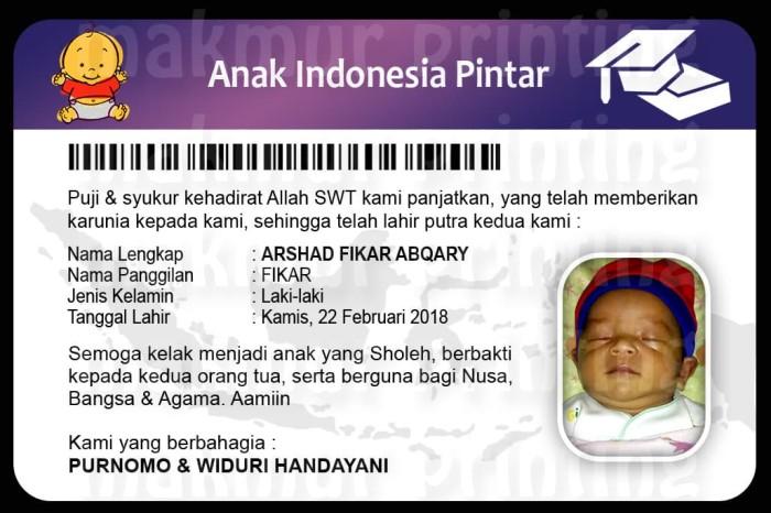 Jual Kartu Ucapan Aqiqah Unik Gantungan Kunci Kartu Indonesia Pintar