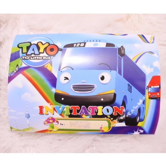 Jual Kartu Undangan Ulang Tahun Anak Karakter Tayo Bus Model Lipat