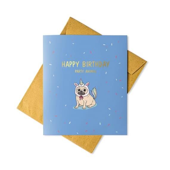 Jual Kartu Ucapan Ulang Tahun Lucu Unik Unicorn Emas Abjad
