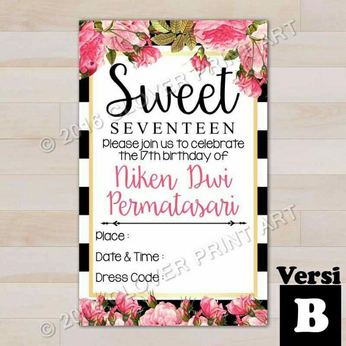 Jual Kartu Undangan Ulang Tahun Sweet Seventeen Kota Surakarta