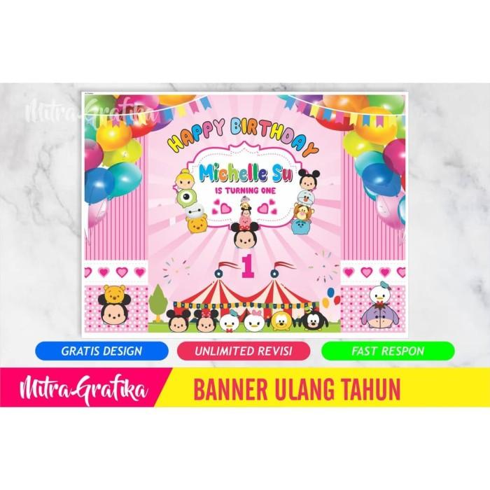 Jual Backdrop Ultah Background Banner Ulang Tahun Tema Tsum 2x1 5 M