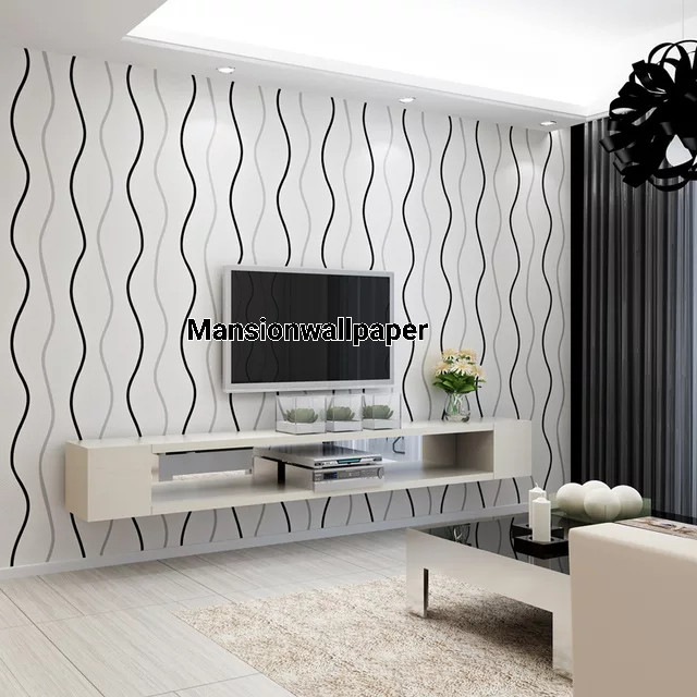 Jual Wallpaper Dinding Minimalis Garis Simple Hitam Putih Biru Cream
