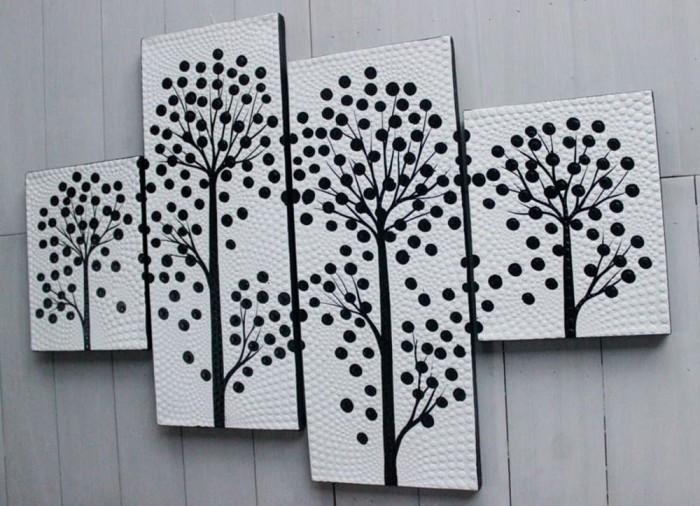 Jual Sale Lukisan Premium Dot Dekoratif Hitam Putih Hiasan Rumah