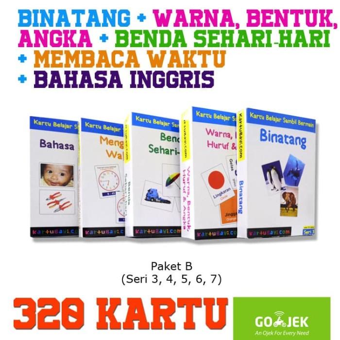 Jual Flashcard Paket 320 Kartu 5 Seri Indonesia Inggris Kartu