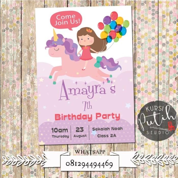 Jual Undangan Ulang Tahun Birthday Invitation Tema Unicorn Dki