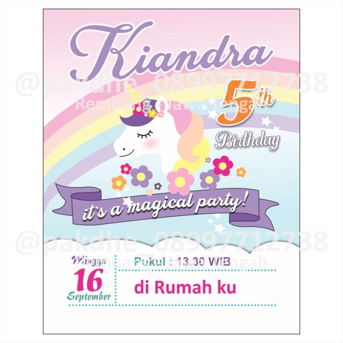 Jual Paket Undangan Ulang Tahun Karakter Unicorn Kab Rembang