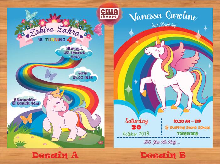 Jual Kartu Undangan Ulang Tahun Unicorn Kota Surabaya