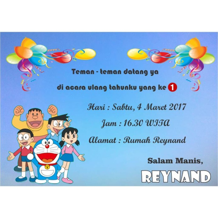 Jual Kartu Undangan Ulang Tahun Doraemon A Limited Stock Dki