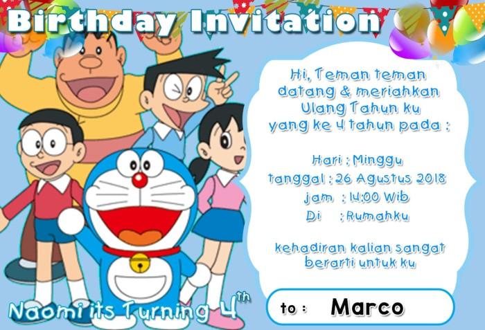 Jual Kartu Undangan Ulang Tahun Doraemon Dki Jakarta Lucuna Shop