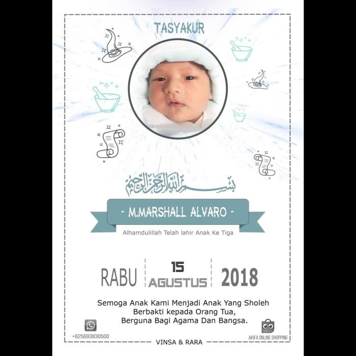 Jual Kartu Aqiqah Ucapan Aqiqah Syukuran Bayi Design Gratis