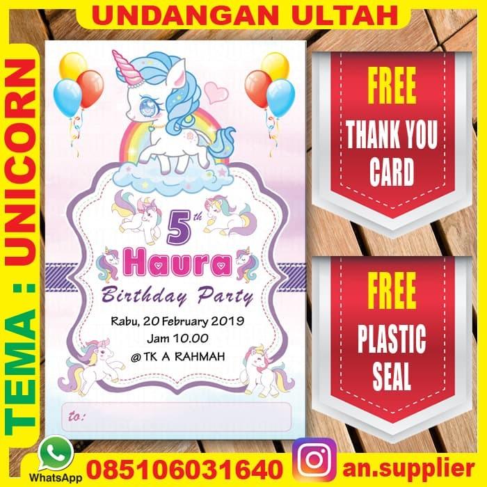 Jual 10 Kartu Undangan Ultah Unicorn Ulang Tahun Thx Card