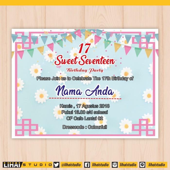 Jual Cetak Undangan Ulang Tahun Sweet Seventeen 01 Kota Palembang